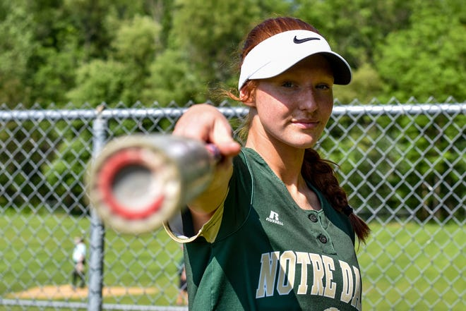 Notre Dame East Stroudsburg senior Jordan Pansy poses with her bat for a portrait photo in East Stroudsburg. Pansy broke several school records for softball during her senior year and will continue playing the sport next year at Gettysburg University.