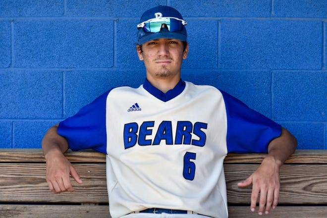 Pleasant Valley senior Brandon Ratti poses in the Bears dugout for a portrait photo in Brodheadsville. Ratti, a star baseball player for PV, will continue his baseball career at Northampton Community College.