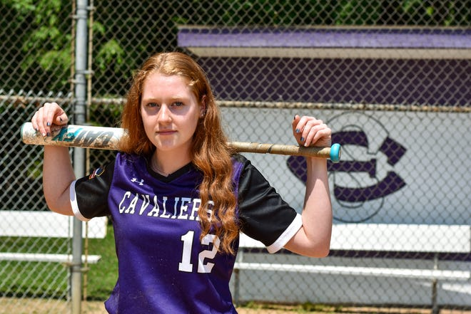 East Stroudsburg South senior softball player Abby Zall poses with her bat for a portrait photo on the Cavaliers' softball field in East Stroudsburg. Zall will attend Moravian College in the fall.
