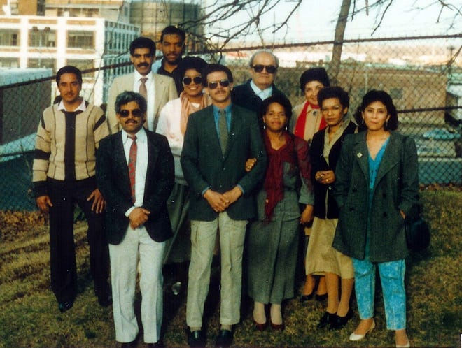 Hispanic Political Action of Committee in Providence, 1986, with co-founders Victor Mendoza and Juan Francisco in front.