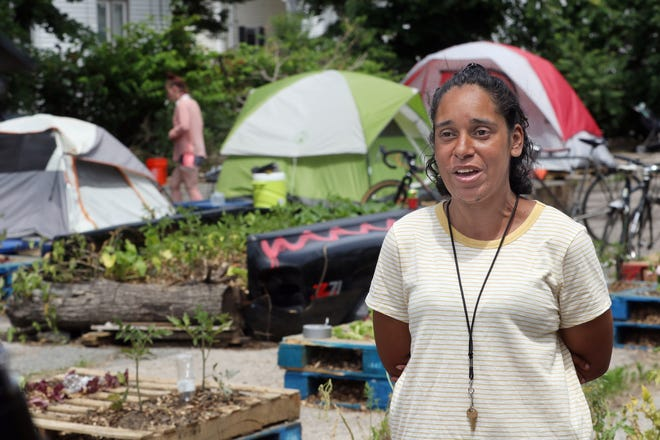 """Diumila """"Matilda"""" Almonte speaks for the tent community living on Wilson Street in Providence, which has been told by the City of Providence to evacuate."""