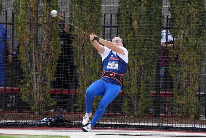 Thomas Mardal of Florida wins the hammer with a throw of 251-9 (76.74m) during the NCAA Track and Field Championships at Hayward Field.