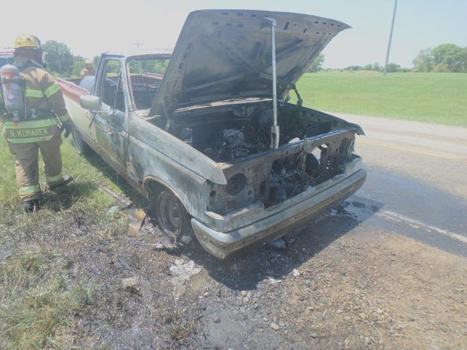 A 1989 Ford F-150 caught fire Wednesday on North Old Highway 81, just south of the Ottawa County line. No one was injured, but the fire completely engulfed the truck's cab before it was put out.
