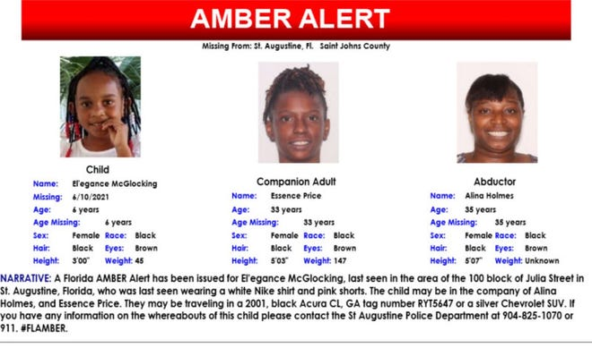 An Amber Alert has been issued for El'egance McGlocking, 6, who was last seen in St. Augustine.