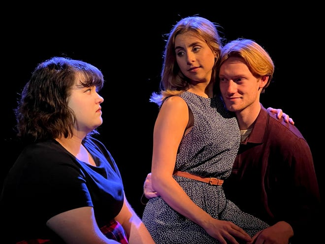 """Melanie Frasca, left, Anne Brown and Jeroen Frank Kales star in Canterbury Summer Theatre's production of """"Out of Love"""" that runs Wednesday through Saturday at its theater in Michigan City."""