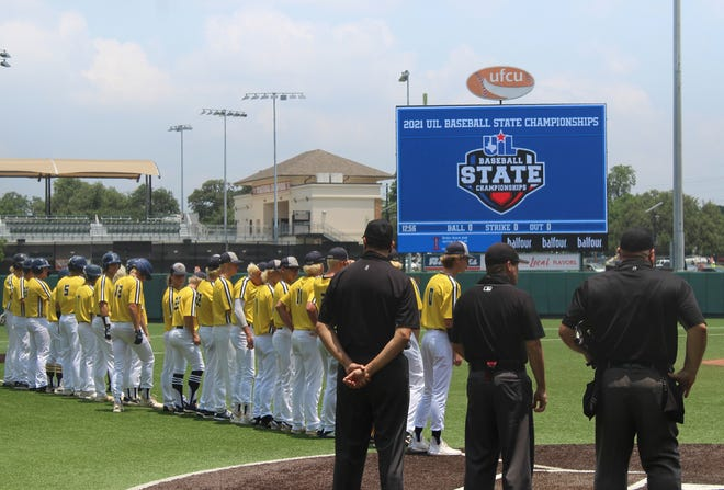 The Stephenville High School Yellow Jackets lineup before the start of Wednesday's 4A State Semifinal game against Texarkana Pleasant Grove. The Jackets historic season ended with a record of 28-9-1.