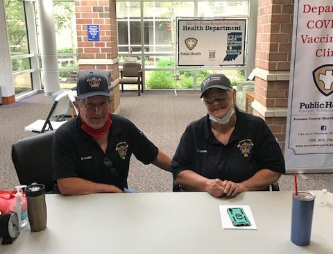 Clinton Township Volunteer Fire Department members Lydia and Doug Chubb continue volunteering at the COVID-19 vaccination site at Putnam County Hospital. The couple have logged more than 275 hours of volunteer service.