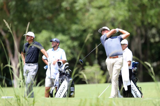 Bryson Nimmer hits his tee shot on the second hole during the first round of the Palmetto Championship at Congaree Golf Club on Thursday.