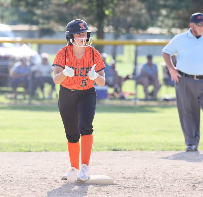Rachel Brown gives the thumbs after picking up one of her three hits in the sectional championship.