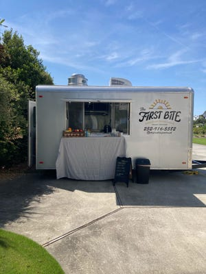 Look for The First Bite Food Truck at local businesses in the mornings, and at Wilmington area breweries in the evenings and afternoons.