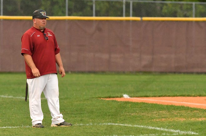 Ashley's Coach Ben Stroehl looks on as Ashley took on Laney during a MEC game Thursday June 10, 2021 at Ashley High School.  [KEN BLEVINS/STARNEWS]
