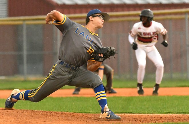 Laney's Connor Kane pitches as Ashley took on Laney during a MEC game Thursday June 10, 2021 at Ashley High School.  [KEN BLEVINS/STARNEWS]