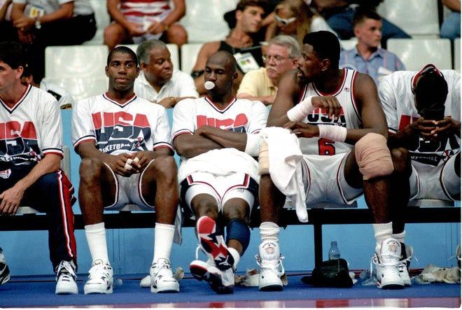 1992 Barcelona Summer Olympic Games -  Magic Johnson, Michael Jordan, Patrick Ewing.  Xxx Dream Team 435 Jpg S Oly Bko