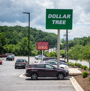 Dollar Tree and Family Dollar, located on Patton Avenue in Asheville.