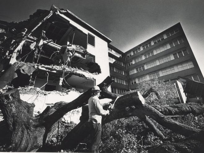 File photo of demolition at Alachua General Hospital.