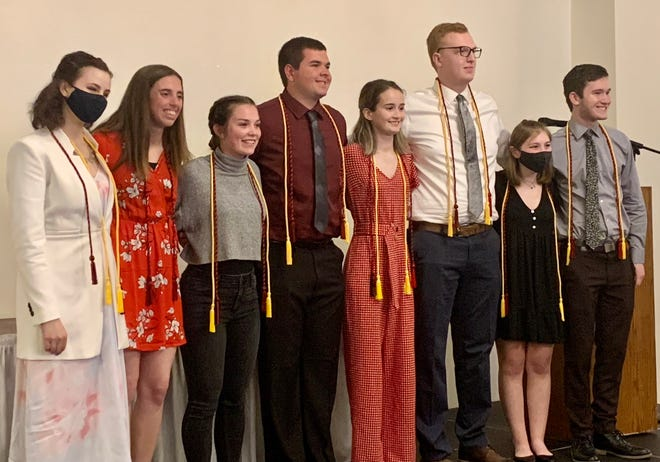 Eight seniors from Tuscarawas Valley High School were recognized for graduating with the highest honors of summa cum laude. Pictured, from left: Brianna Swinford, Sydney Clements, Kaya Russell, Hayden Burrier, Joy Beach, Sawyer Ramsey, Katherine Christ and Griffin McConaha.
