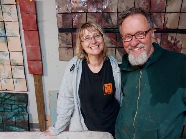 Tom Radca and his assistant Margit Stewart are shown in one of the Radca Ceramics studios.