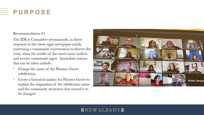 After a recent controversy over the name of the Planters Grove subdivision, New Albany's Inclusion, Diversity and Equity Action Committee has recommended changing the name of the neighborhood. Facilitators Courtnee Carrigan and Lisa White presented a slideshow with recommendations from the committee at the June 1 New Albany City Council meeting.