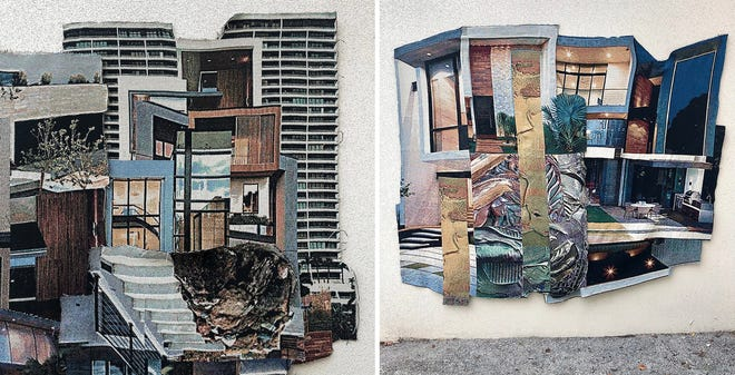 """The works of Grandview Heights native Joe Karlovec – """"Vacancy"""" on the left and """"Duplex"""" on the right – are being featured in an exhibition at Franklin G. Burroughs-Simeon B. Chapin Art Museum in Myrtle Beach, South Carolina. These two pieces are  part of 12 installations in his """"Private Property"""" exhibition."""