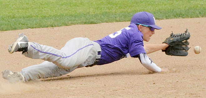 Watertown Red Sox third baseman Carter Beynon makes a diving attempt for a grounder during their Class A U16 Baseball doubleheader against Harrisburg Gold on Wednesday afternoon at Watertown Stadium.