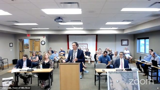 Bartel Van Oostendorp, who applied for a conditional use permit to operate a wedding and event venue, speaks during the June 8 Mills River Board of Adjustment meeting where the permit was ultimately denied.