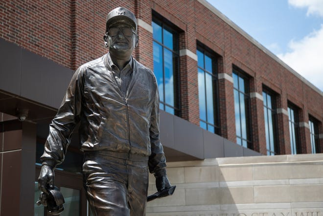 Bo Schembechler statue outside of University of Michigan's Schembechler Hall in Ann Arbor.
