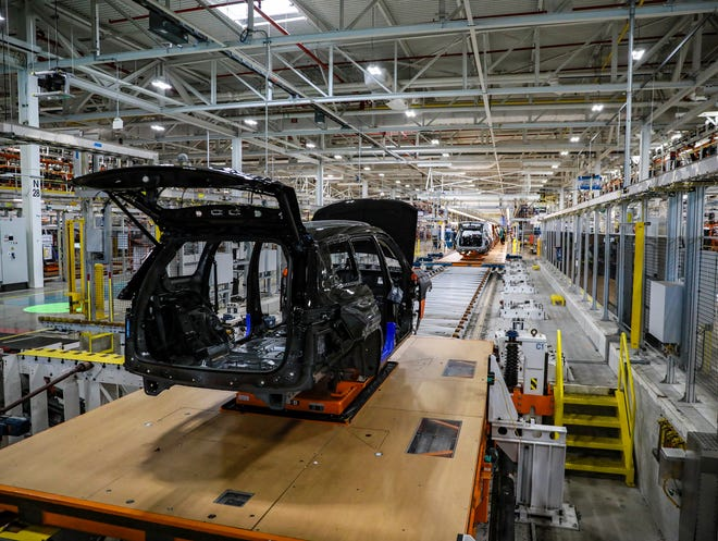 The inside of the new Stellantis Detroit Assembly Complex - Mack plant, as seen on June 10, 2021.