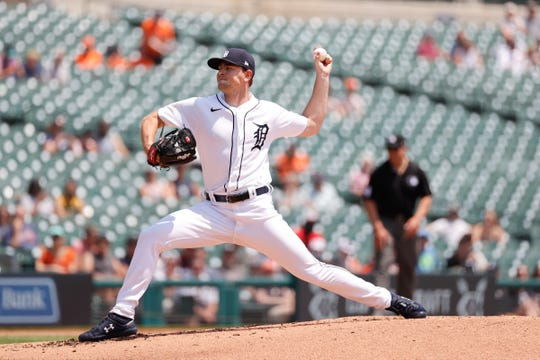 Detroit Tiger starting pitcher Tyler Alexander (70) throws the second round June 10, 2021 against the Seattle Mariners at Comerica Park.