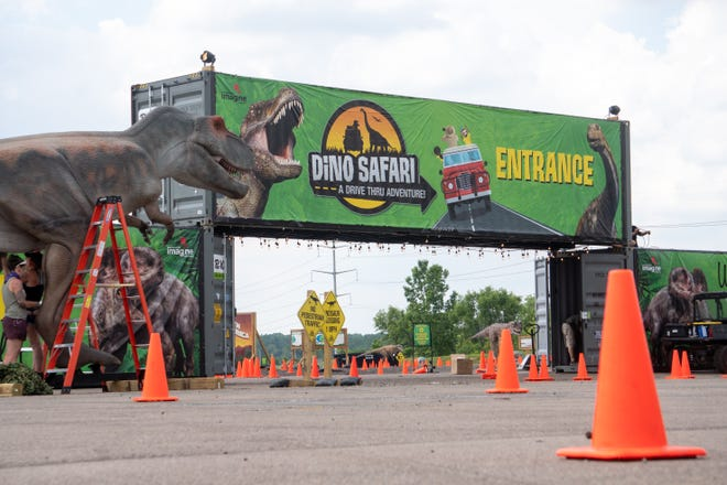 The entrance to the Dino drive though safari that begins on Sunday, June 13, 2021 located at the  Suburban Collection Showplace in Novi.