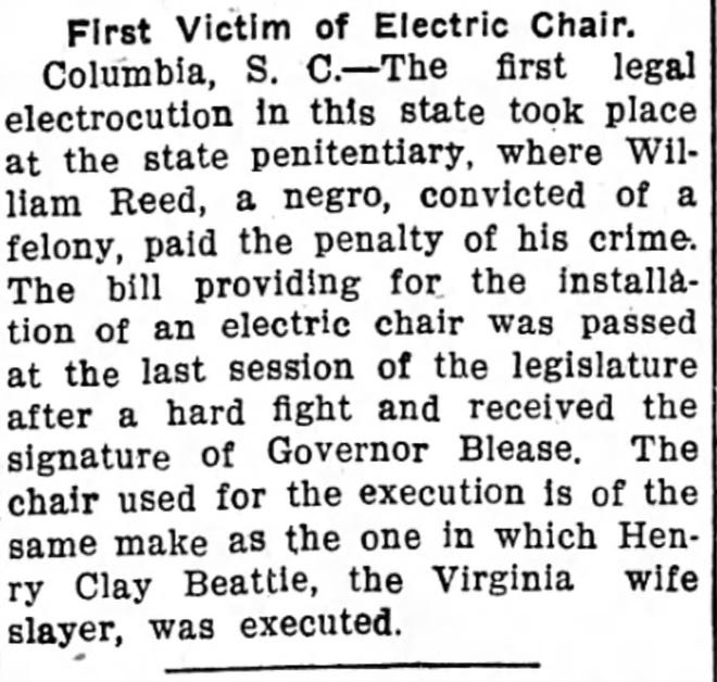 Newspaper article on William Reed's death as the first use of the electric chair in South Carolina in the Wednesday, Aug. 14, 1912,  issue of The Abbeville Press and Banner.