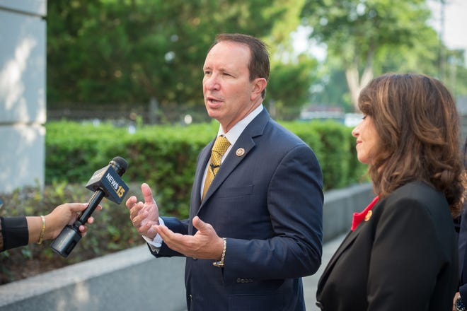 Attorney General Jeff Landry request press conference before court hearing. Thursday, June 10, 2021.