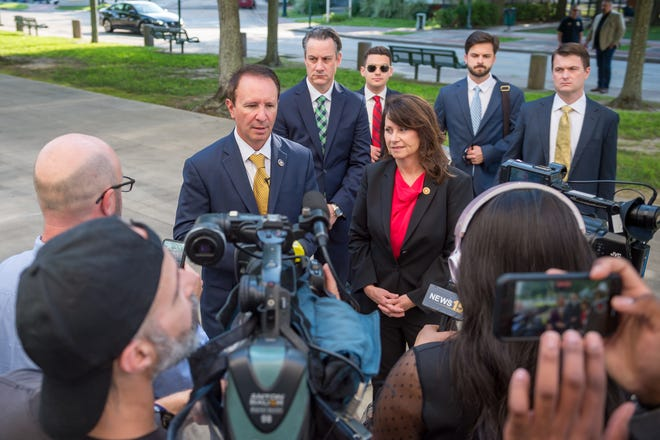 Louisiana Attorney General Jeff Landry speaks during a press conference outside the federal courthouse in downtown Lafayette Thursday, June 10, 2021, ahead of a hearing over President Joe Biden's pause on new oil leases in the Gulf of Mexico that Landry's office is leading a group of 12 other states in suing to undo.