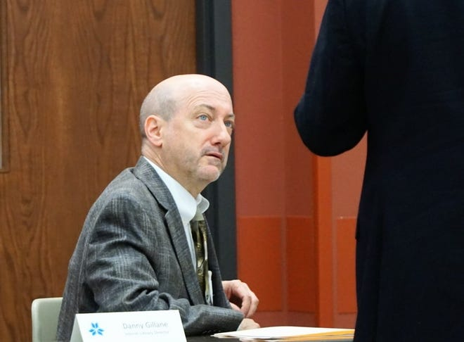 Interim Lafayette Public Library Director Danny Gillane speaks to a member of the library's director search committee prior to being interviewed for the permanent director position on Wednesday, June 9, 2021.