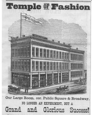 The magnificent Temple of Fashion owned by Orrin E. Peters and Horatio G. Trout opened in the spring of 1882 where the Chase Bank stands today. The narrow section of the building faced S. Broad St. and the long (north side) of the building was along the alley. This ad appeared in the Gazette Oct. 26, 1882.