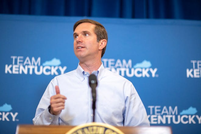 Kentucky Gov. Andy Beshear speaks during a press conference after the Kentucky Supreme Court heard oral arguments for two cases challenging the governor's ability to issue emergency declarations.