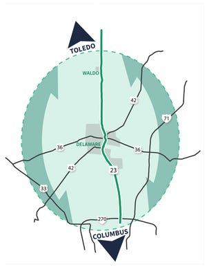 A graphic from the Ohio Department of Transportation showing US 23 and the various highways that extend from it. ODOT plans to host multiple virtual meetings with communities to discuss possible changes to 23 and the surrounding roadways.