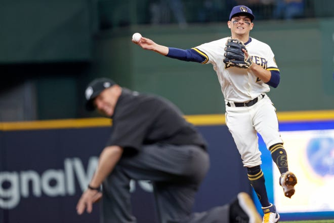 Luis Urias has made six starts at third base for the Brewers this season.
