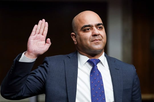 Zahid Quraishi, nominated by U.S. President Joe Biden to be a U.S. District Judge for the District of New Jersey, is sworn in during a Senate Judiciary Committee hearing on pending judicial nominations, Wednesday, April 28, 2021 on Capitol Hill in Washington.
