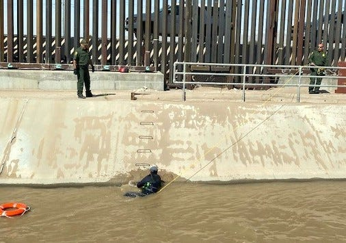 U.S. Border Patrol agents rescued two migrants from the American Canal near Yarbrough and Highway 375 in El Paso.