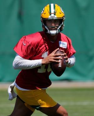 Green Bay Packers quarterback Jordan Love (10) participates in minicamp practice Thursday, June 10, 2021, in Green Bay, Wis.