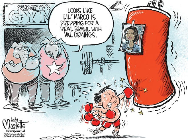 Marlette cartoon: Florida fight for U.S. Senate brewing between Marco Rubio and Val Demings