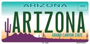 Arizona license plate.