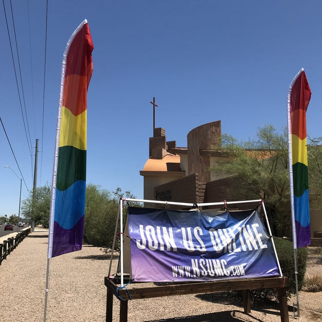 North Scottsdale United Methodist Church reported its pride banners had been stolen and their poles were scattered around the parking lot on Thursday, June 10, 2021.