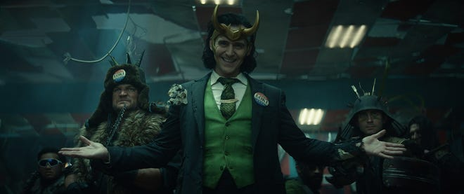 "Tom Hiddleston, center, stars in ""Loki."" The series is streaming on Disney+."