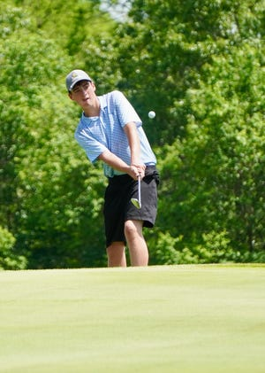 Nolan Fraaza hits a shot for Wittenberg-Birnamwood during Wednesday's Division 2 golf sectional in Wautoma.