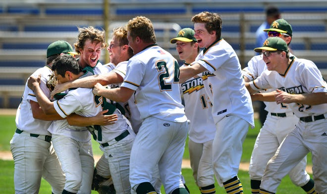 Sauk Rapids-Rice players celebrate their 7-4 win against St. Francis to advance to the state tournament Thursday, June 10,  2021, at Joe Faber Field in St. Cloud.