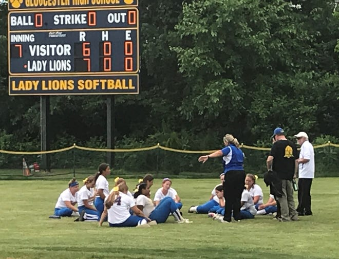The Buena Regional High School softball team talks for the final time this season after it fell to Gloucester 7-6 in the South Jersey Group 1 final.