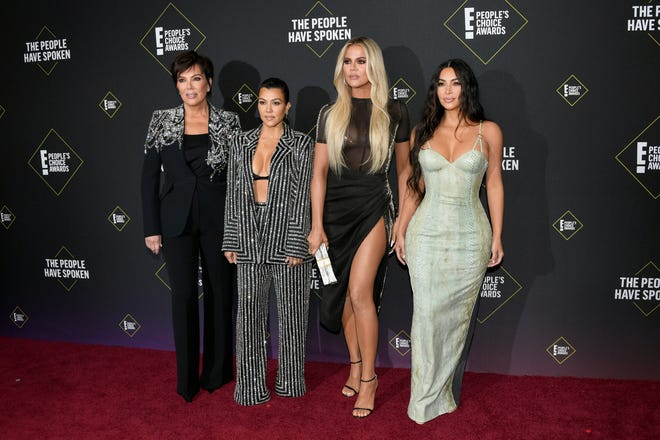 Kris Jenner, far left, with her daughters: Kourtney, Khloé and Kim Kardashian West at the E! People's Choice Awards on Nov. 10, 2019 in Santa Monica, Calif.