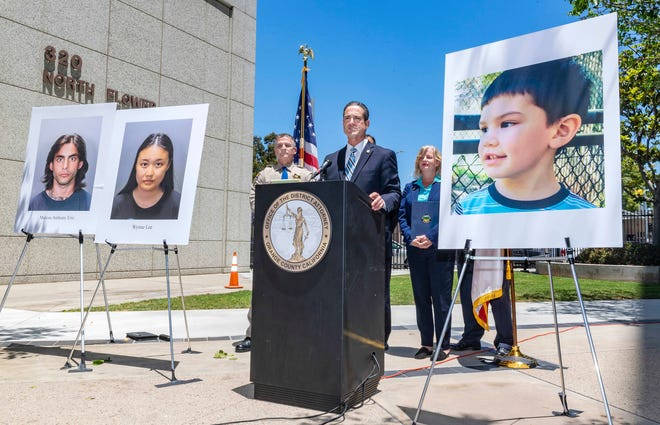 Orange County District Attorney Todd Spitzer announces charges filed against suspects Marcus Anthony Eriz and Wynne Lee in the death of Aiden Leos, right, the 6-year-old boy who was fatally shot on his way to kindergarten in his mother's car in Southern California.