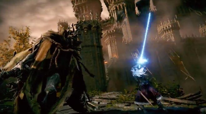 A screenshot of the first trailer for the video game 'Elden Ring.'